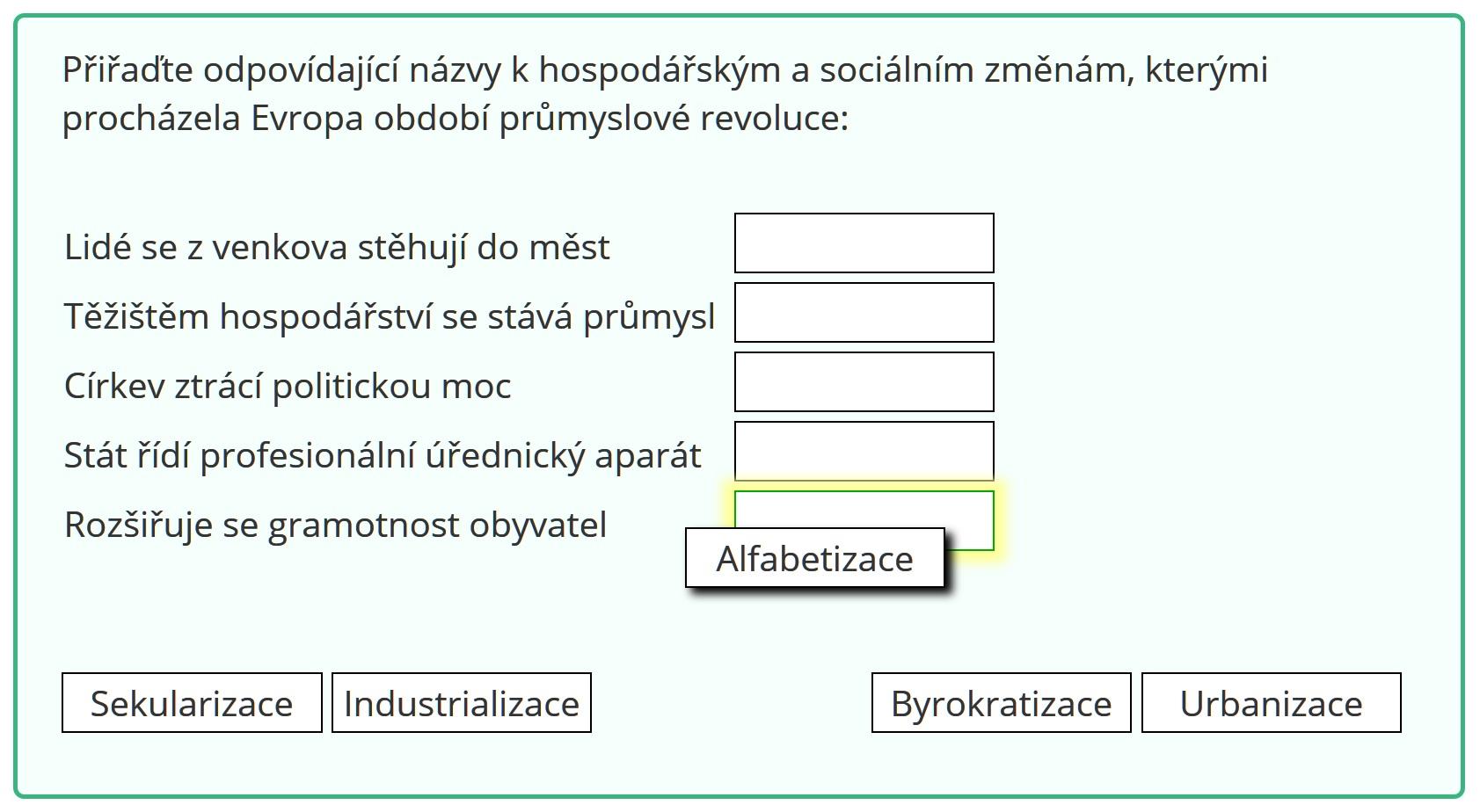 Typ úlohy: Přesouvání textu do cílových políček