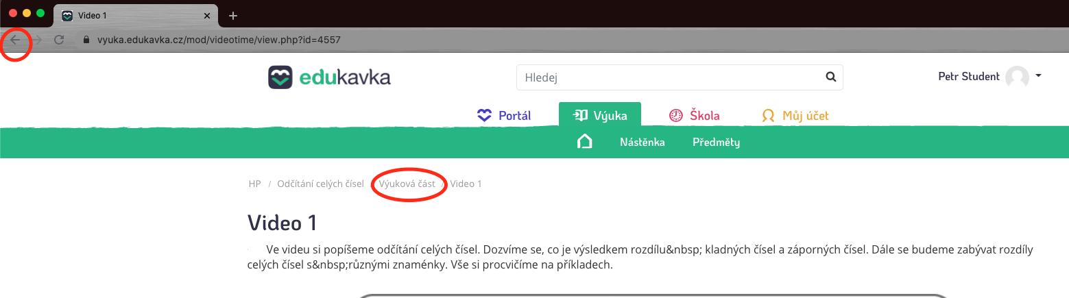 Navigační prvky stránky výuky na EduKavce