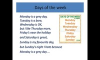 Days of the week, months