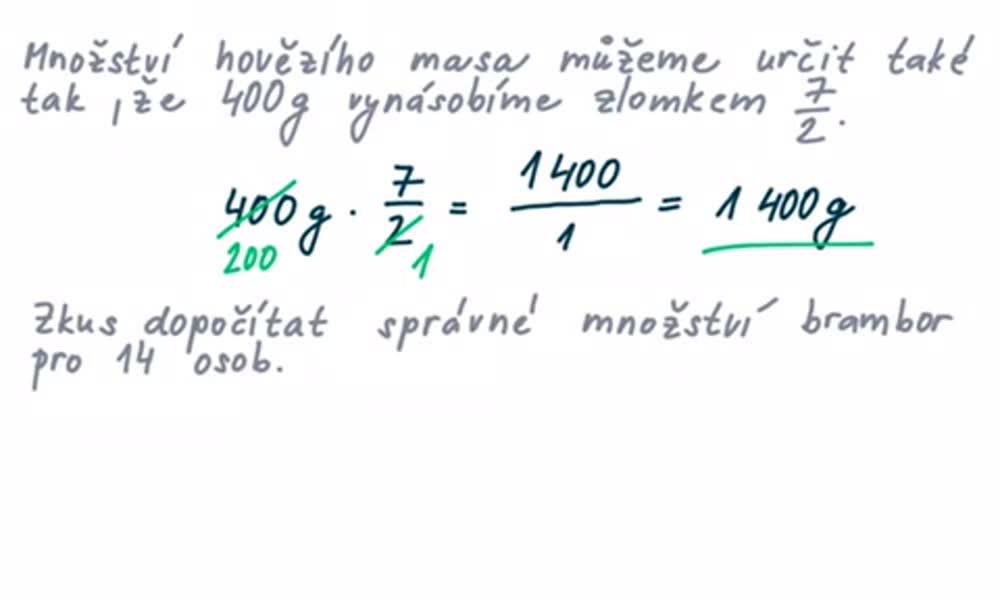 5. náhled výukového kurzu Počítání s poměry, trojčlenka