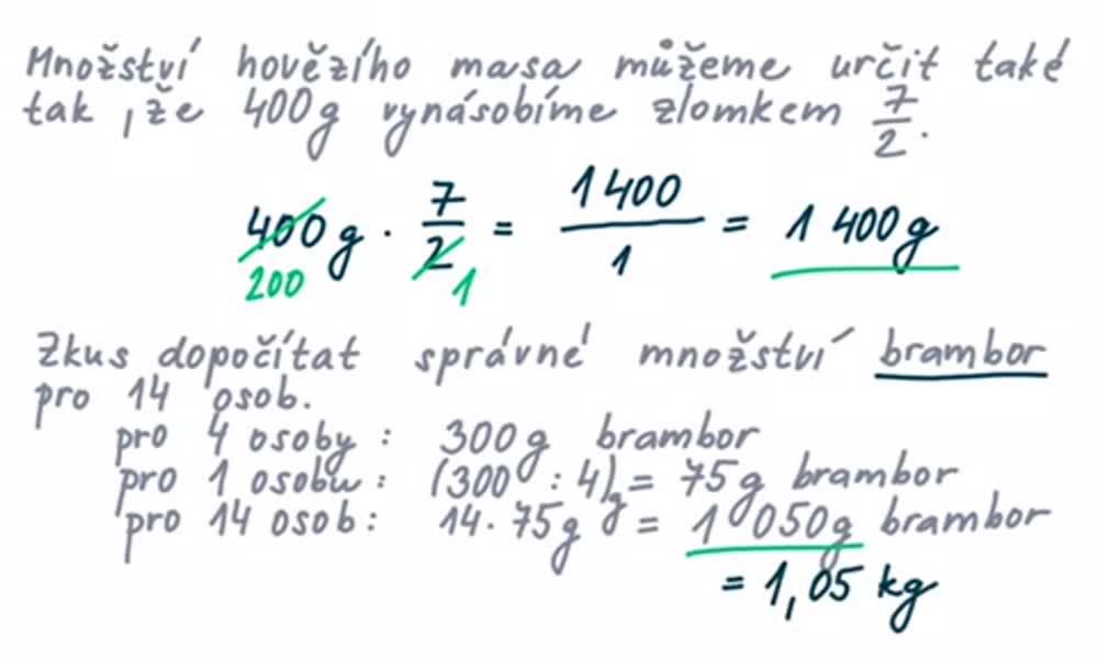 6. náhled výukového kurzu Počítání s poměry, trojčlenka