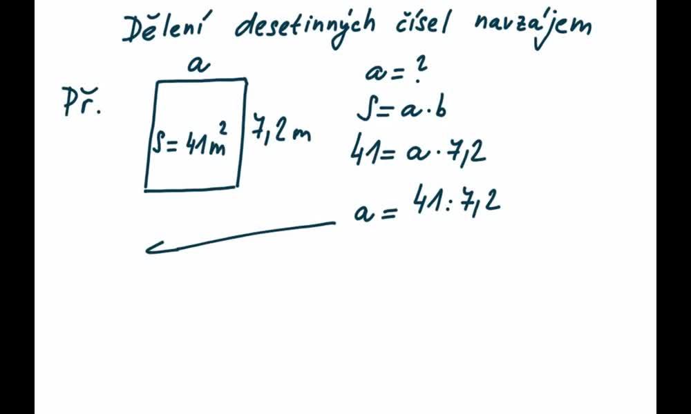 2. náhled výukového kurzu Dělení desetinných čísel navzájem