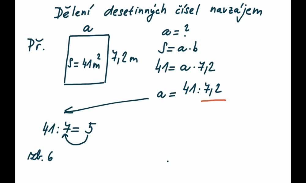 3. náhled výukového kurzu Dělení desetinných čísel navzájem