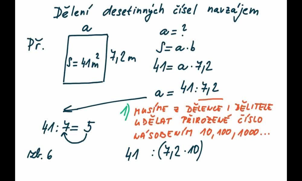 4. náhled výukového kurzu Dělení desetinných čísel navzájem