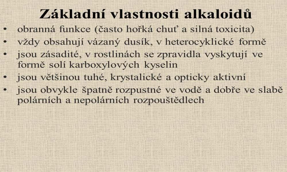 3. náhled výukového kurzu Alkaloidy