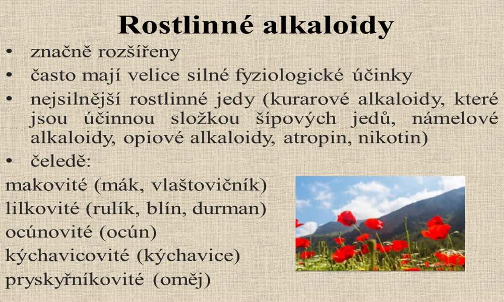 6. náhled výukového kurzu Alkaloidy