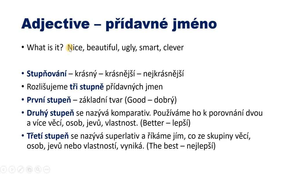 1. náhled výukového kurzu Adjectives - comparatives and superlatives