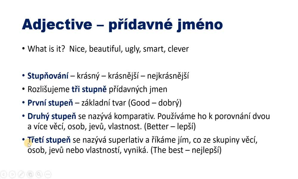 2. náhled výukového kurzu Adjectives - comparatives and superlatives
