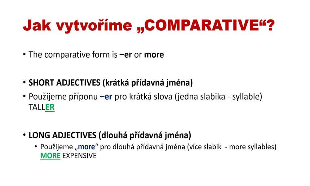4. náhled výukového kurzu Adjectives - comparatives and superlatives