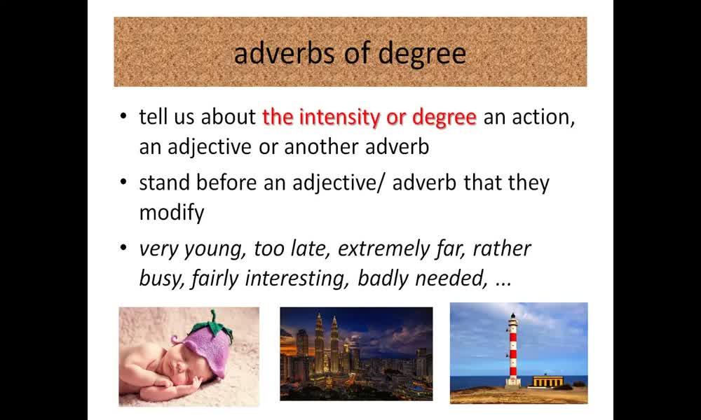 1. náhled výukového kurzu Adverbs of degree