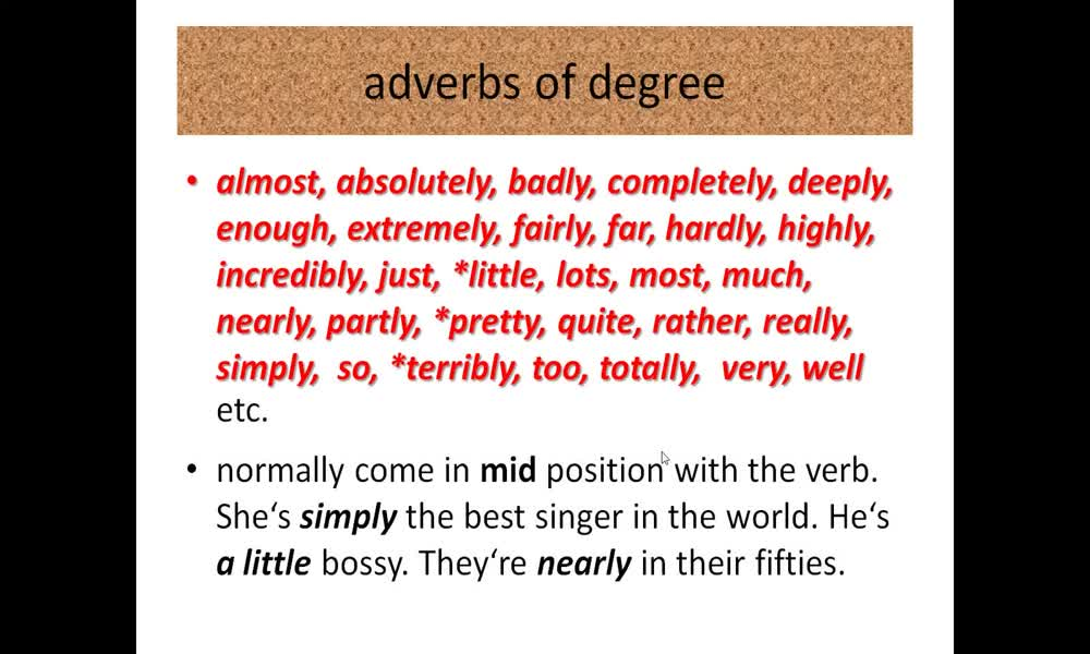 2. náhled výukového kurzu Adverbs of degree