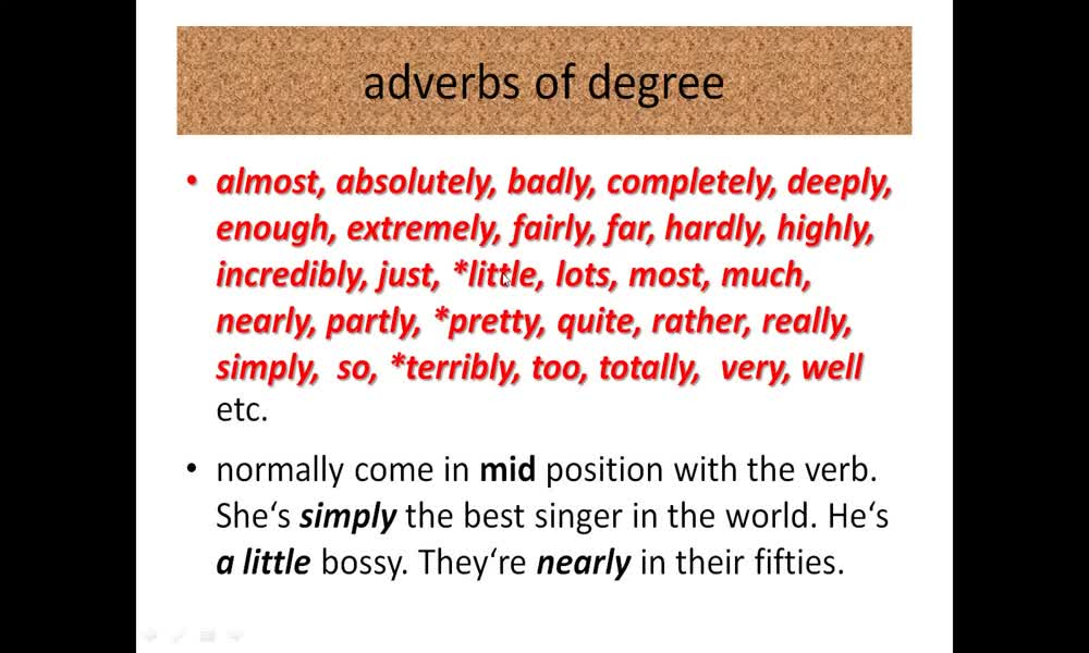 3. náhled výukového kurzu Adverbs of degree