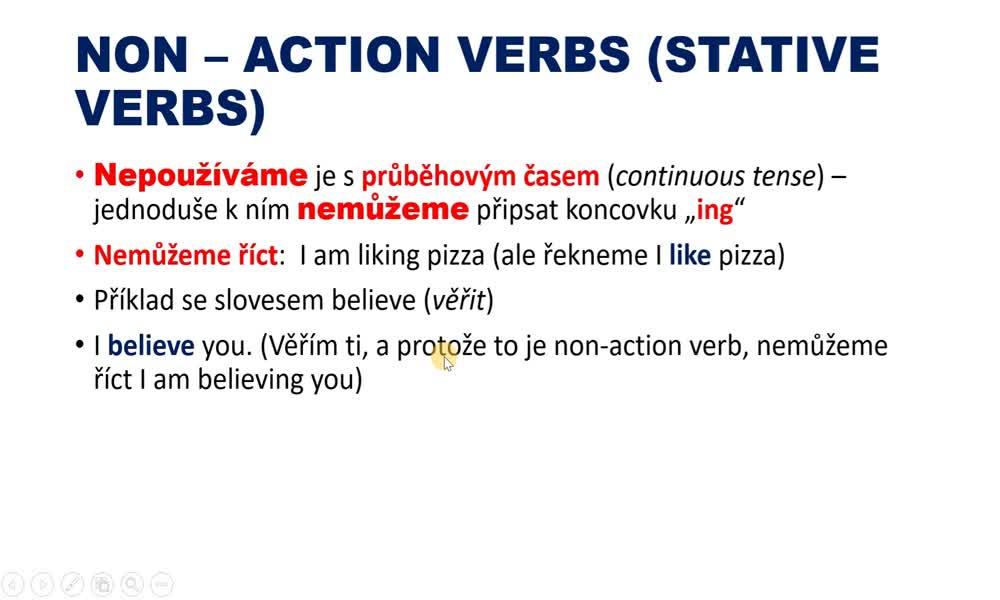 4. náhled výukového kurzu Action and non-action verbs