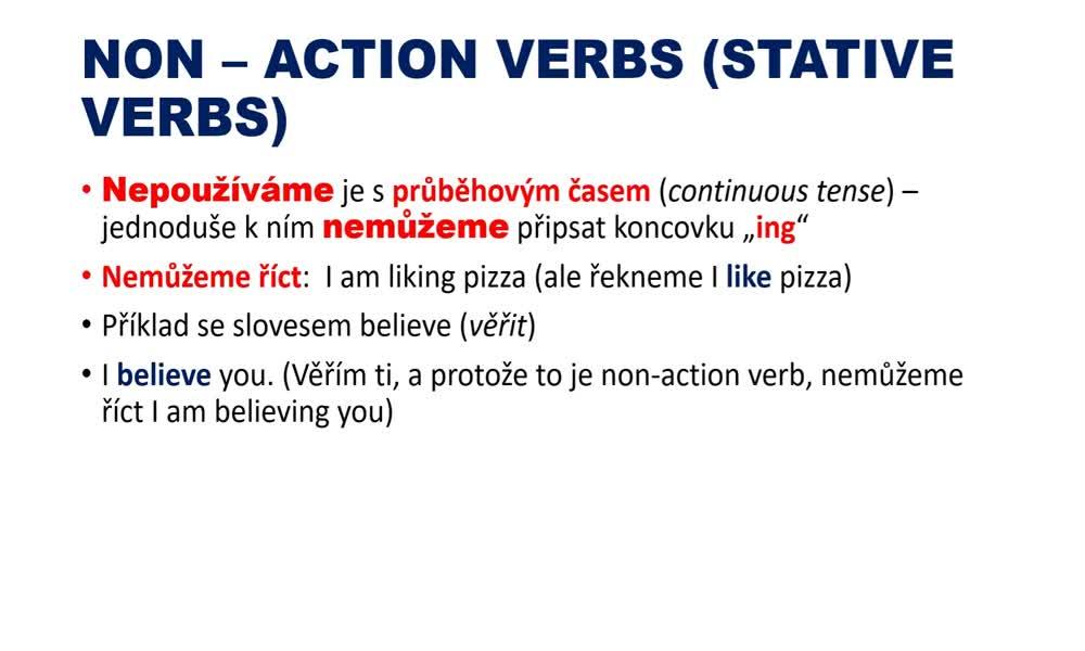 5. náhled výukového kurzu Action and non-action verbs