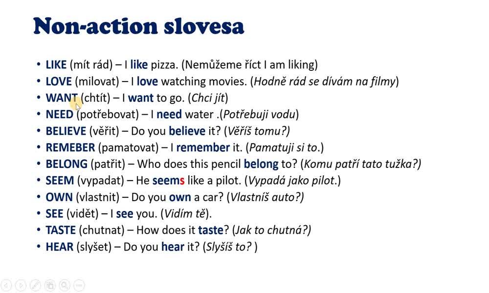 6. náhled výukového kurzu Action and non-action verbs