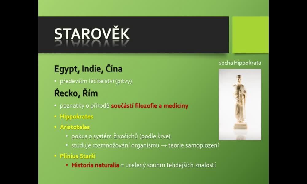 2. náhled výukového kurzu Dějiny biologie