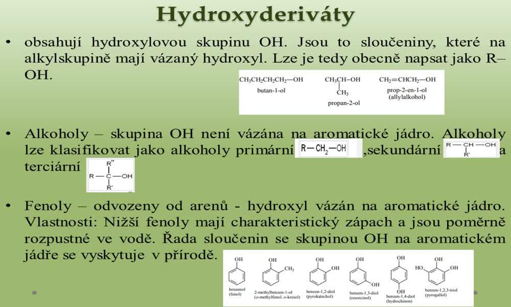 5. náhled výukového kurzu Deriváty uhlovodíků a jejich klasifikace