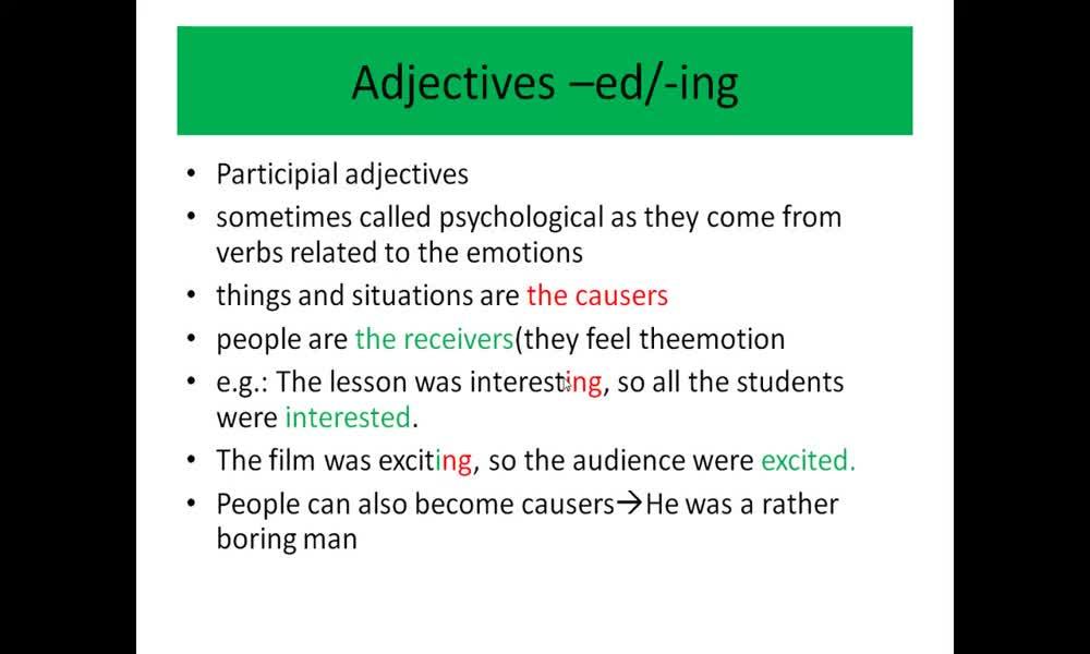 2. náhled výukového kurzu Adjectives ending with -ed / - ing (grammar)