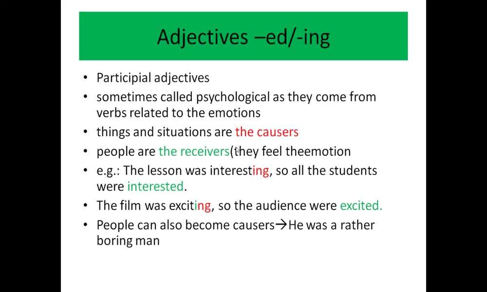 3. náhled výukového kurzu Adjectives ending with -ed / - ing (grammar)
