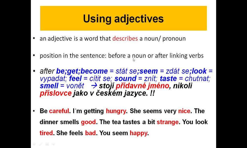 4. náhled výukového kurzu Adjective order