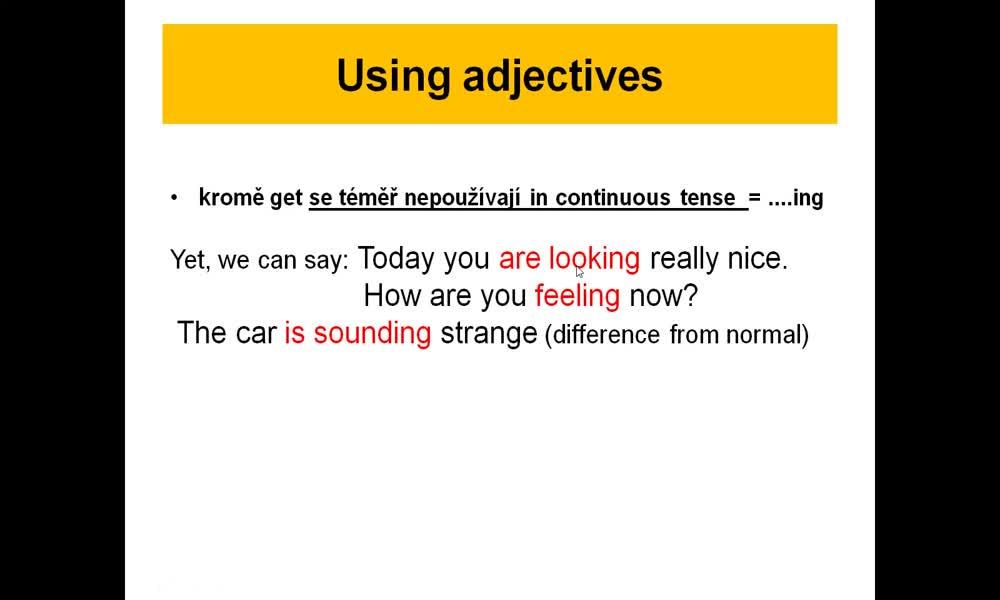 6. náhled výukového kurzu Adjective order