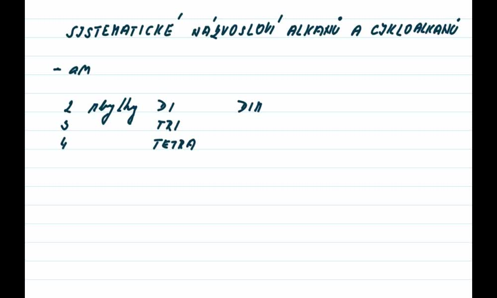 3. náhled výukového kurzu Alkany a cykloalkany - názvosloví