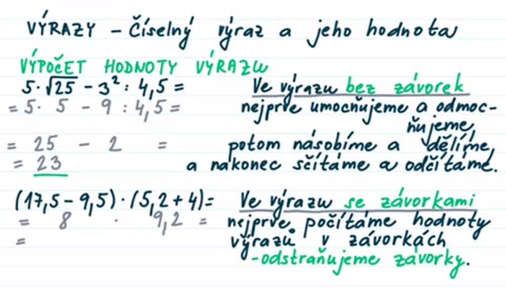 3. náhled výukového kurzu Číselný výraz a jeho hodnota