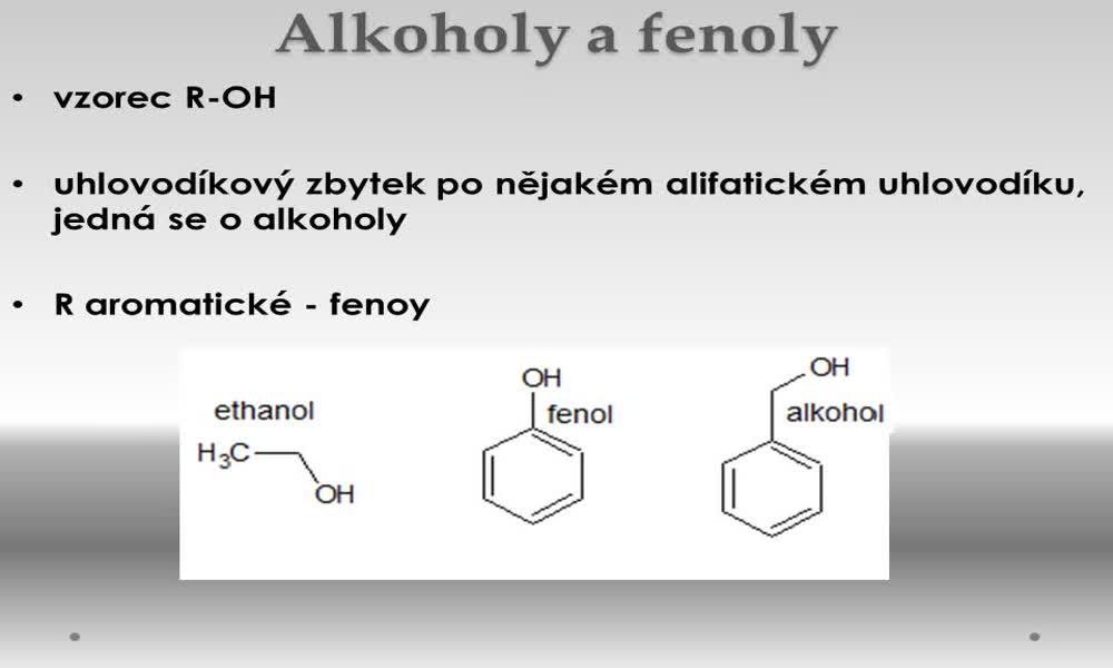 1. náhled výukového kurzu Alkoholy a fenoly
