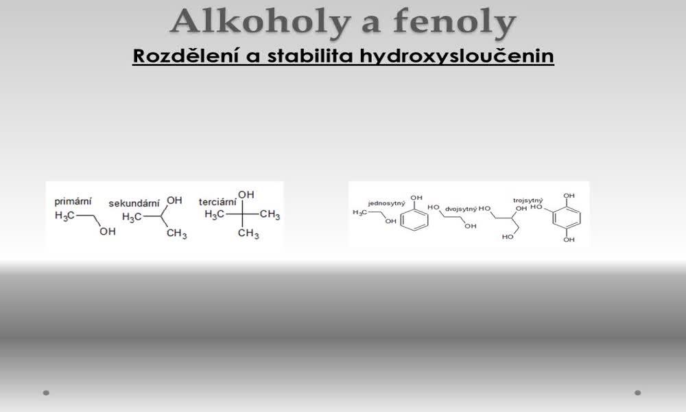 2. náhled výukového kurzu Alkoholy a fenoly