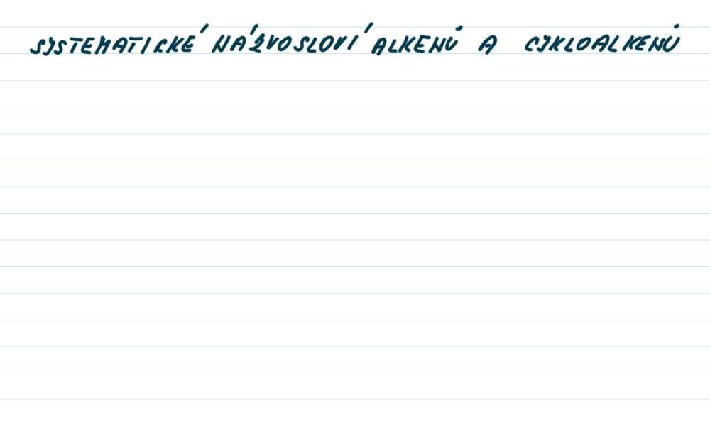 1. náhled výukového kurzu Alkeny a alkadieny - názvosloví