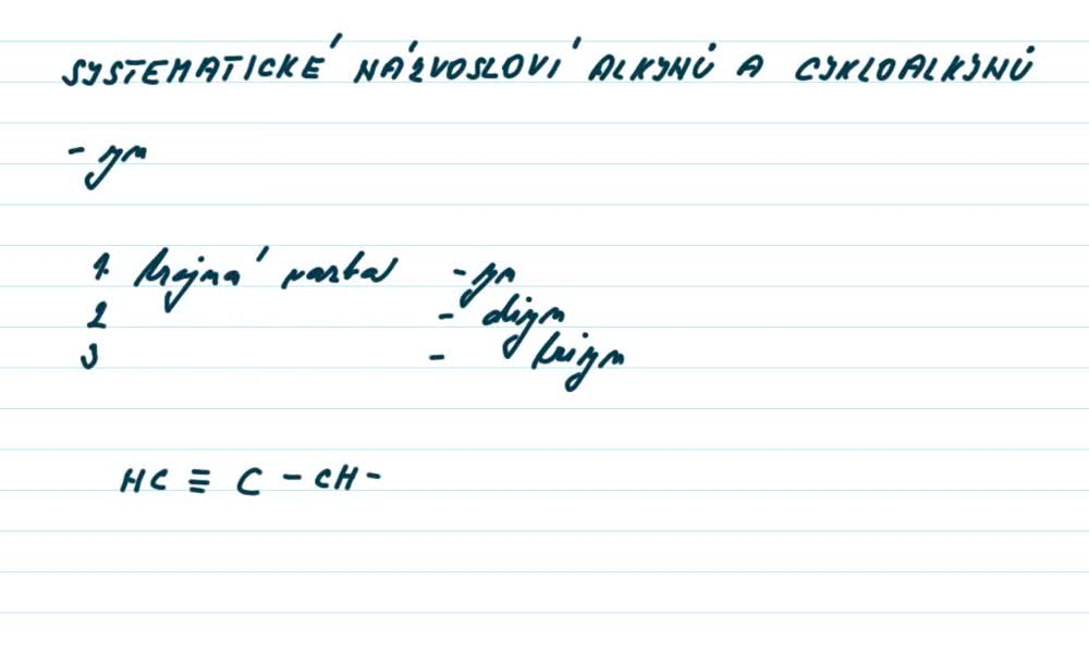 2. náhled výukového kurzu Alkyny a cykloalkyny  - názvosloví