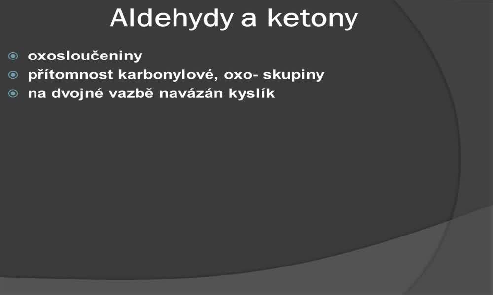 1. náhled výukového kurzu Aldehydy a ketony