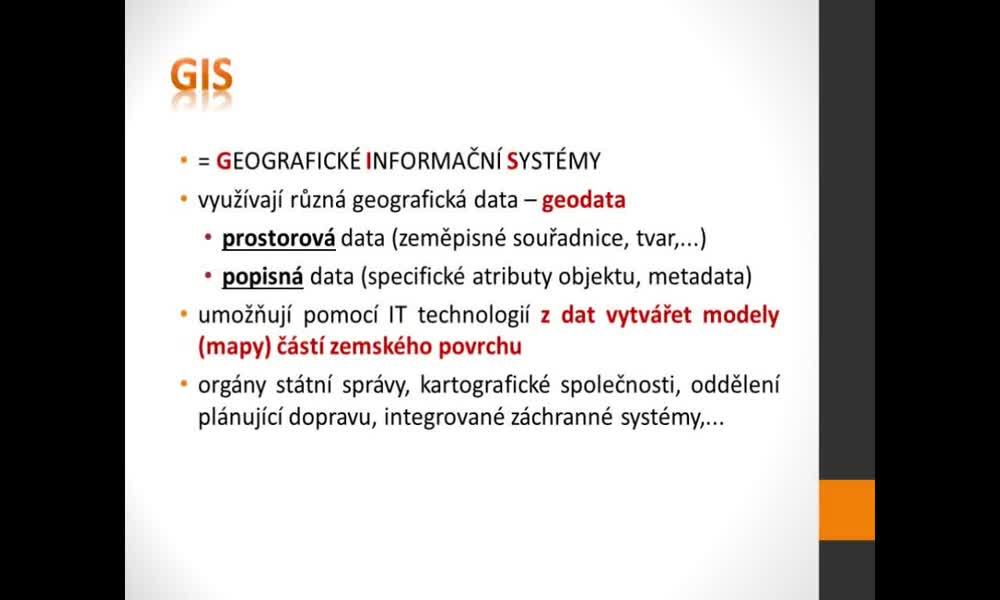 1. náhled výukového kurzu Geografické informační a navigační systémy