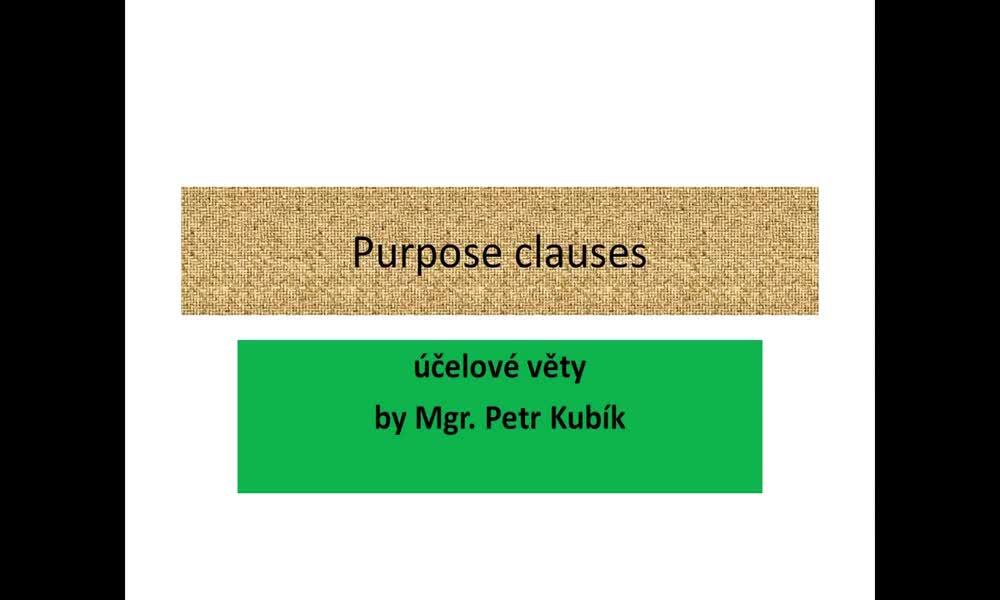 1. náhled výukového kurzu Clauses of purpose