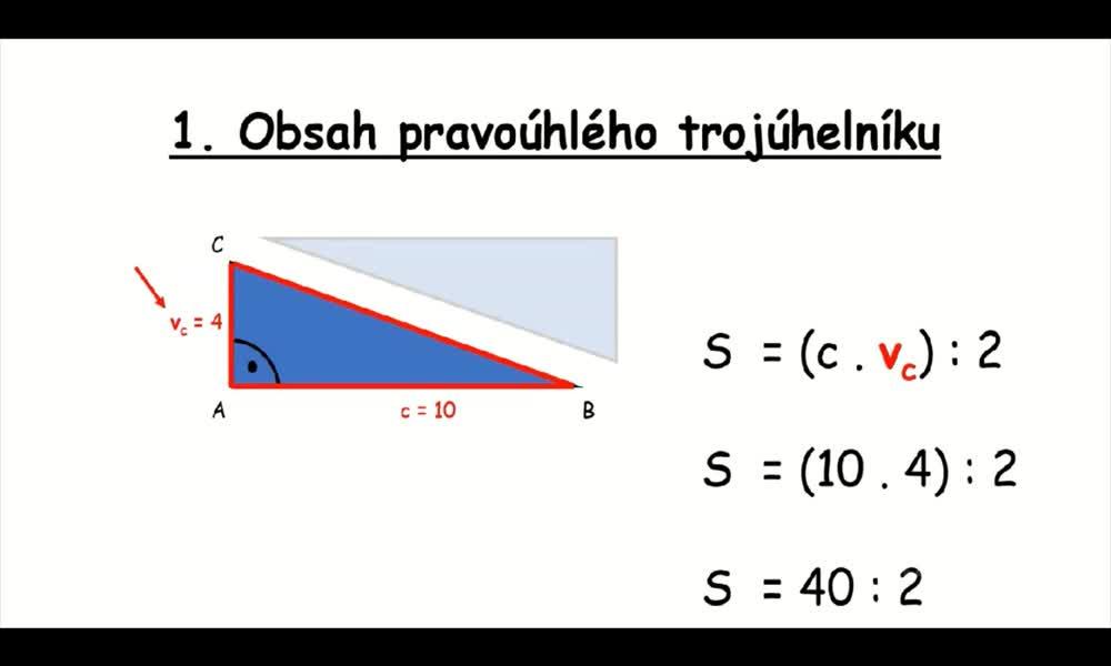3. náhled výukového kurzu Obsah trojúhelníku
