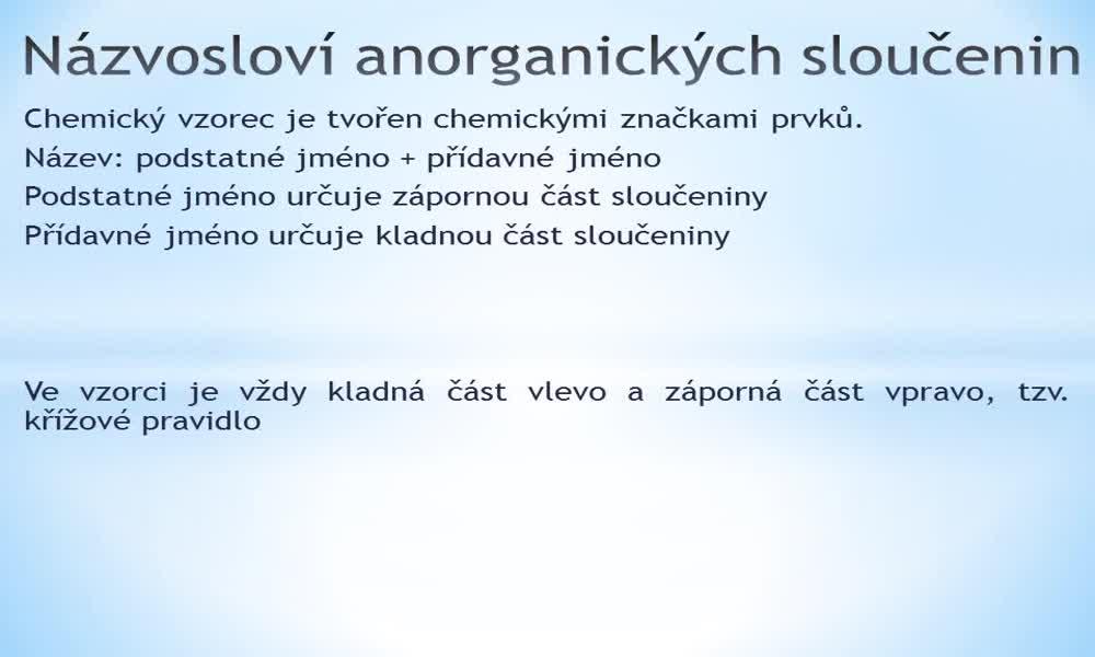1. náhled výukového kurzu Názvosloví anorganických sloučenin