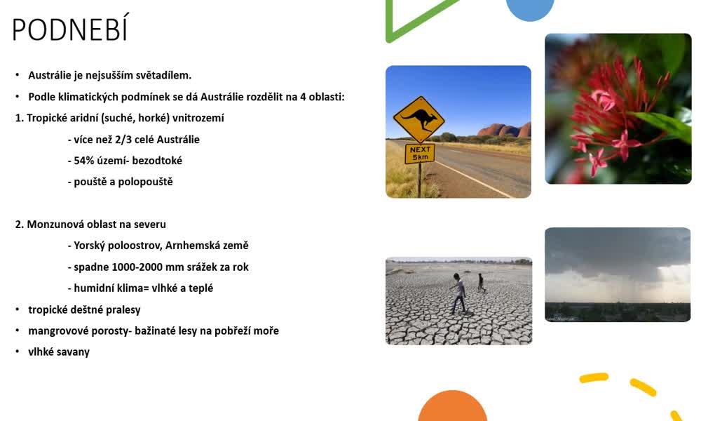 5. náhled výukového kurzu Austrálie a Oceánie - přírodní podmínky
