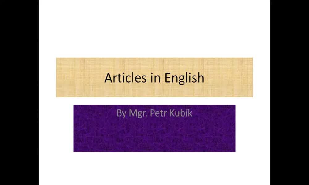 1. náhled výukového kurzu Articles - a, an, the, no article