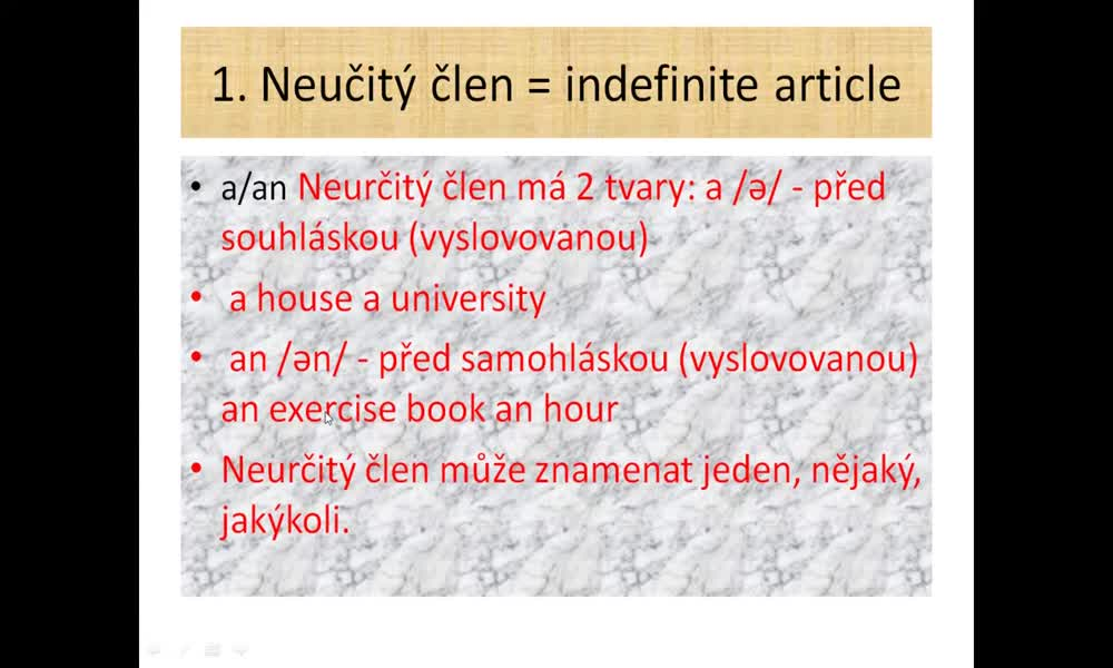 2. náhled výukového kurzu Articles - a, an, the, no article