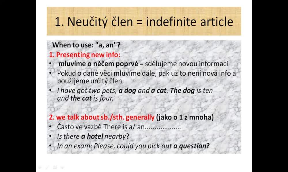 3. náhled výukového kurzu Articles - a, an, the, no article