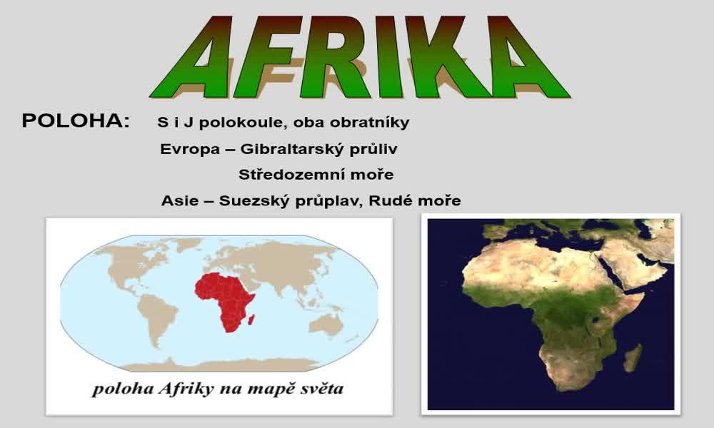1. náhled výukového kurzu Afrika - poloha, rozloha, povrch, podnebí