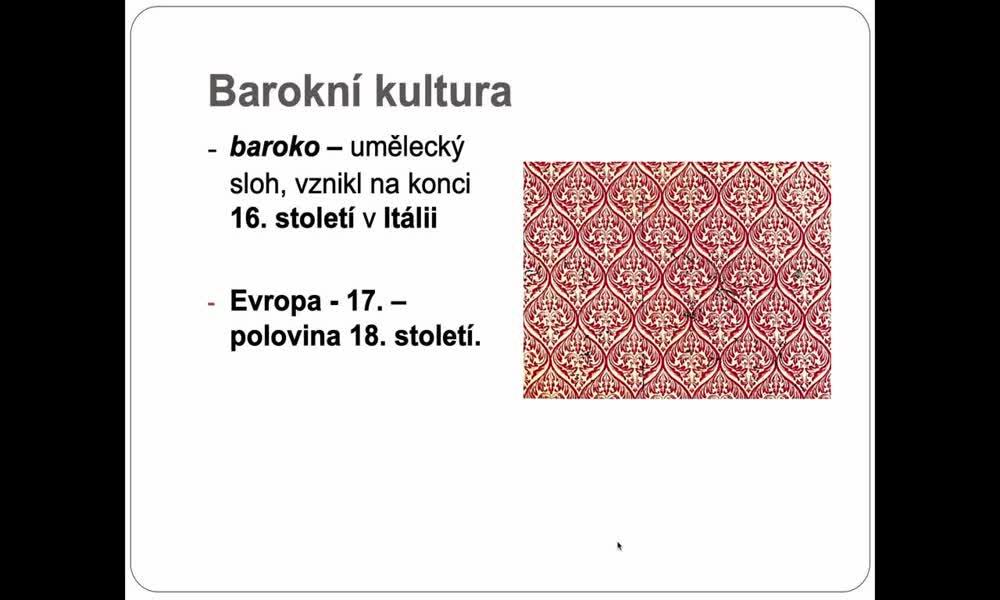 1. náhled výukového kurzu Barokní kultura