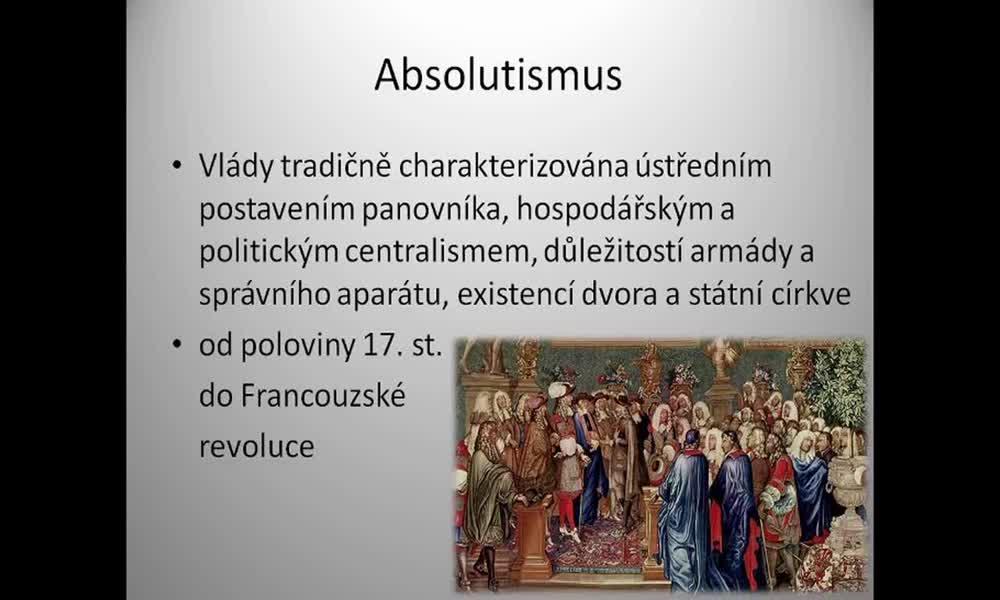1. náhled výukového kurzu Absolutismus a stavovství