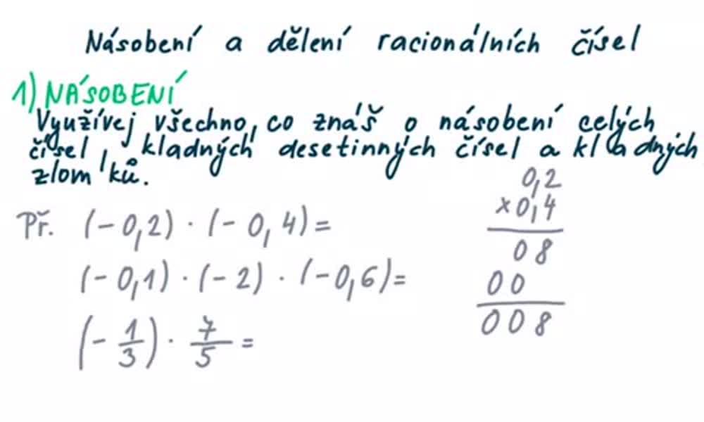 2. náhled výukového kurzu Násobení a dělení racionálních čísel