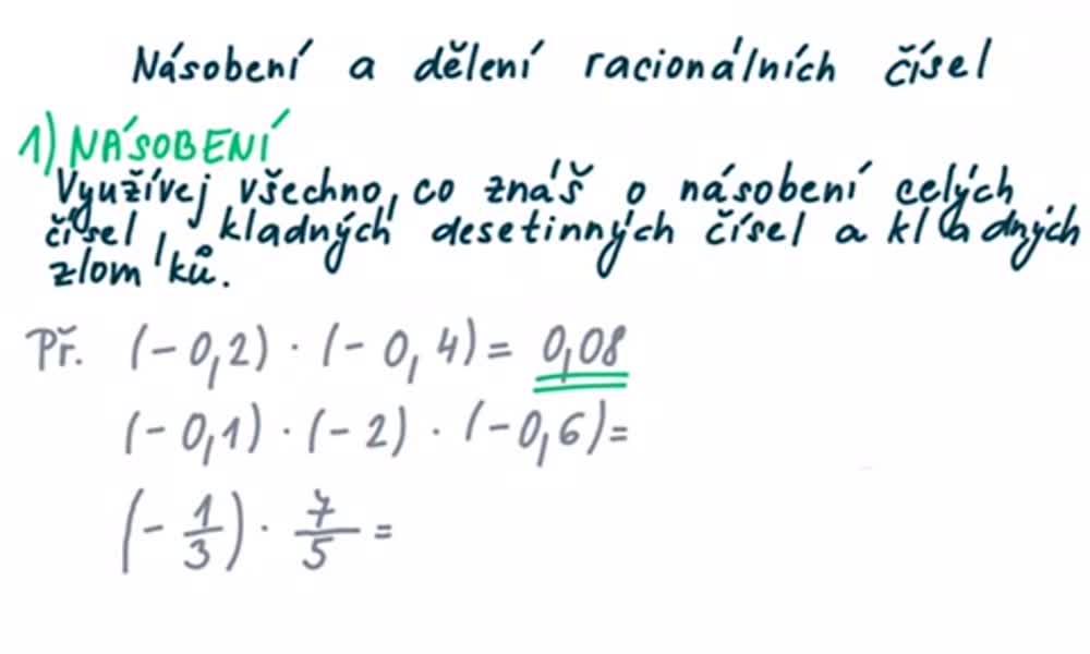 3. náhled výukového kurzu Násobení a dělení racionálních čísel