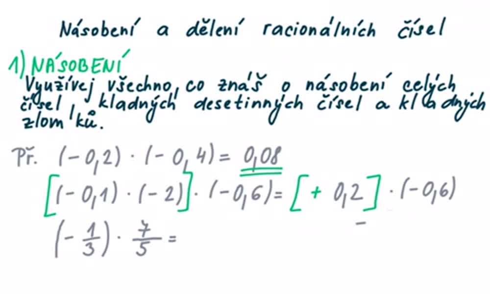4. náhled výukového kurzu Násobení a dělení racionálních čísel