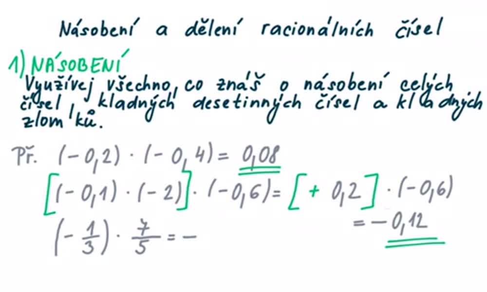 5. náhled výukového kurzu Násobení a dělení racionálních čísel