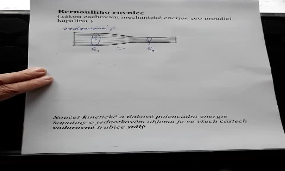 1. náhled výukového kurzu Bernoulliho rovnice