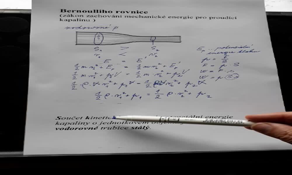 5. náhled výukového kurzu Bernoulliho rovnice